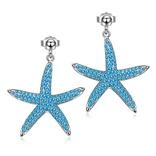 AVATAR Pendientes Mujer Plata Estrella de Mar Pendientes Plata de Ley 925 y 3A Circón Pendientes para Niñas Joyas Mujer Joven