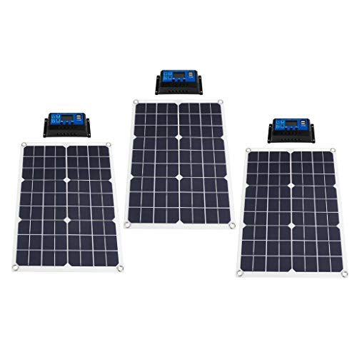 perfk 3PC 20W Solar Panel Solarpanel 10A Charge Controller for Boat Farm Outdoor