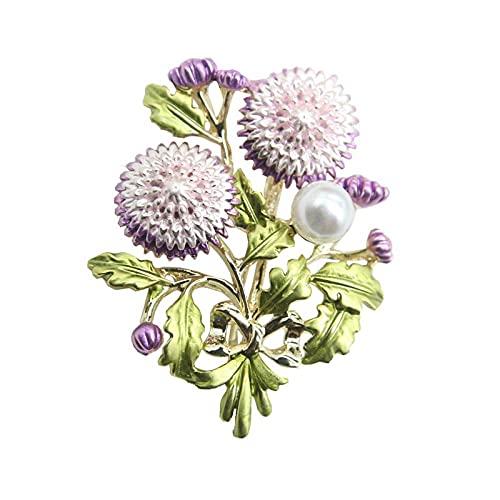 Nuevo estilo pintado púrpura esmalte al óleo flor de diente de león broche rebeca de mujer chal pin accesorios joyería