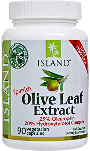 Real European Olive Leaf Extract Capsules - 25% Oleuropein Plus 20% Hydroxytyrosol Complex - 100% Grown & Extracted in Spain - 90 Veggie Caps, Super-Strength by Island Nutrition