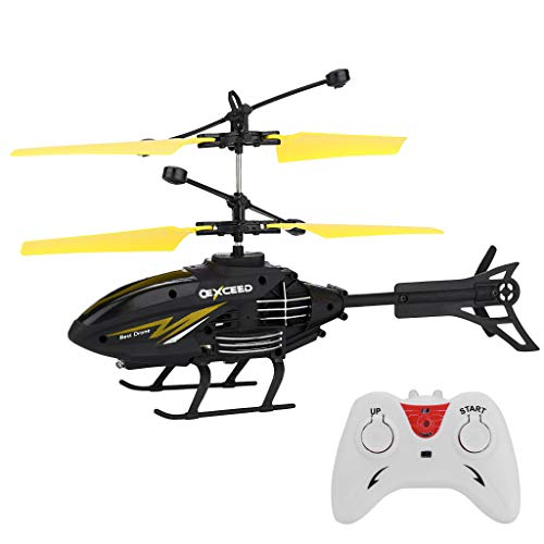 RC Helicopter丨Mini RC Infrared Induction Remote Control RC Toy 2CH Gyro Helicopter RC Drone (Yellow)