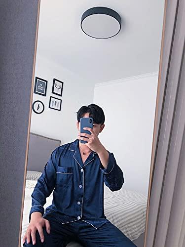 ML S HJDY Pijama Masculino Moda Jacquard Hielo Seda Verano Primavera Fresco Pijama Sets Suave Ropa De Dormir De Manga Larga Fina + Trajes Largos del Pantalón Pijama,Azul,XXL