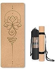 Kurk Yoga Mat Antislip Uniek Ontwerp Natuurlijke Kurk Tpe Materiaal Fitness Oefening Mat met Draagtas en Riem Voor Thuis, Pilates, Aerobic, Gym & Workout 72 X 24