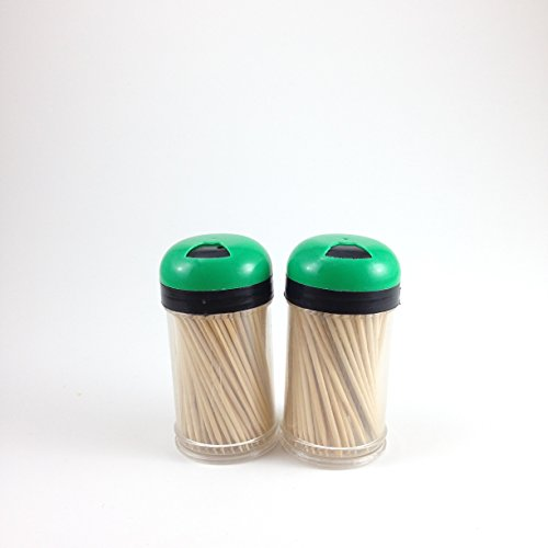 Toothpick Dispenser 2 pack with 300 ct 100% All Natural Bamboo Round Toothpicks