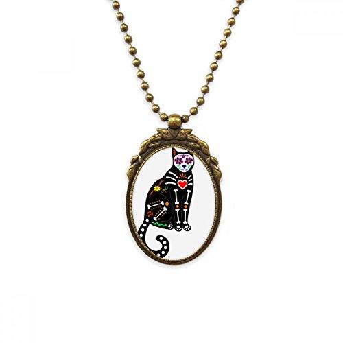 DIYthinker Colar de gato preto coração de Halloween atmosfera de terror antigo colar com pingente de contas vintage