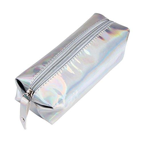 Aipark Trousse tendance à fermeture Éclair pour stylos ou maquillage Silver