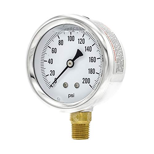 PIC Gauge S201L-254G 0-200 PSI Pressure Gauge, 2 1/2' Dial, 1/4' Male NPT Connection, Bottom Mount, Single Scale, Glycerin Filled, Stainless Steel Case/Bezel, Brass Internals & Plastic Lens