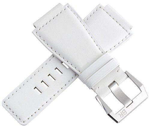 Bell & ROSS uomo bianco pelle Watch Band con fibbia in acciaio INOX, 24mm
