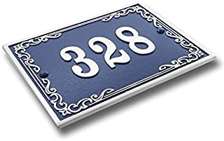 House Number Address Plaque Vintage Style. Cast Metal Personalised Yard Or Mailbox Sign In Blue With Oodles Of Number And Letter Options. Handmade In England By The Metal Foundry Just For You