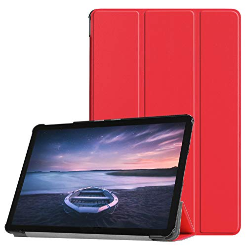 【Trocent】Samsung Galaxy Tab S4 10.5 ケース スタンド機能付き 三つ折型 超薄型 内蔵マグネット開閉式 Tab S4 10.5 カバー レザー シンプル (Tab S4 10.5, レッド)
