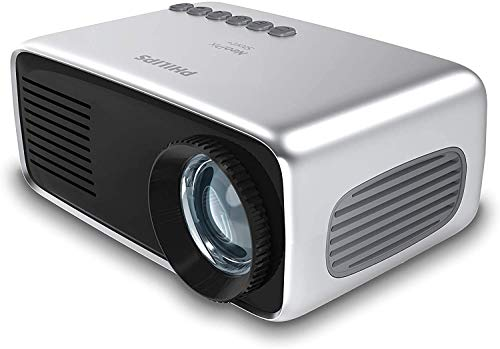 Philips NeoPix Start+, Miniprojektor, 650 LED-Lumen, 60″ Bildgröße, integrierter Media-Player und eingebauter Akku, HDMI, USB, microSD, 3,5-mm-Audioausgang/-Kopfhöreranschluss