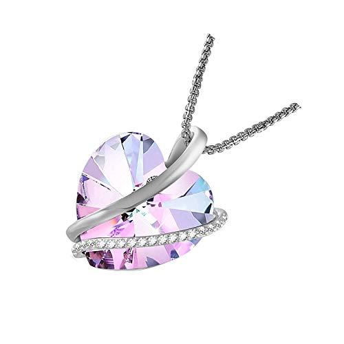 Collares de corazón para mujer Collar de oro blanco con cristales morados 2 púrpura