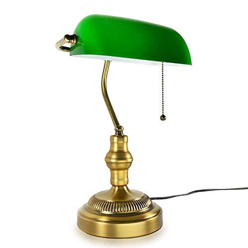 Zzyff Lámpara de banquero tradicional, base de latón, pantalla de vidrio verde esmeralda hecha a mano, luz de mesa de oficina vintage, lámparas de escritorio de estilo antiguo para oficina, biblioteca