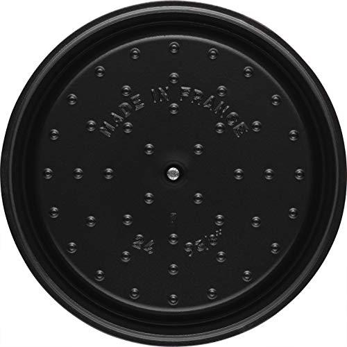 staubストウブ「ココットラウンドブラック24cm」大きい両手ホーロー鍋IH対応【日本正規販売品】LaCocotteRound40500-241