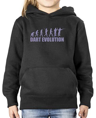 Comedy Shirts - Dart Evolution - Mädchen Hoodie - Schwarz/Violett Gr. 134/146