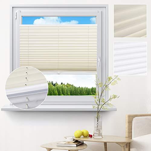 EUGAD 0073BZL, Plisseerollo ohne Bohren Thermo Design Faltrollo Jalousie Klemmfix Verdunkelung Sonnenschutz Sichtschutz, Creme 60x130cm