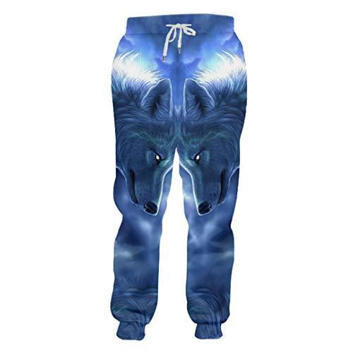 Homme Mélancolique Animal Motif Pantalon Imprimé 3D Yeux Rougeoyants Et Pantalon De Jogging Loup Wolf XL