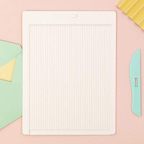 Craftelier - Kit Completo de Tabla para Marcar y Cortar Diferentes Papeles + Plegadora Turquesa + Guía para Realización de Sobres | Para Scrapbooking y Otras Manualidades