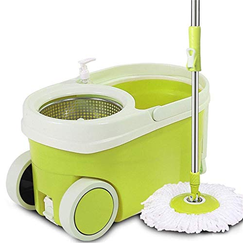 STRAW Mop,Spin Mop and Bucket System with Microfiber Mop Heads Stainless Steel Mop Bucket,