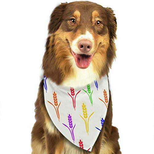 Haustier Schal Six-Colored Wheat Spikes Pattern Pet Dog Bandana Triangle Bibs Scarf - Easy to Tie On Your Dogs & Cats Pets - Comfortable and Stylish Pet Accessories