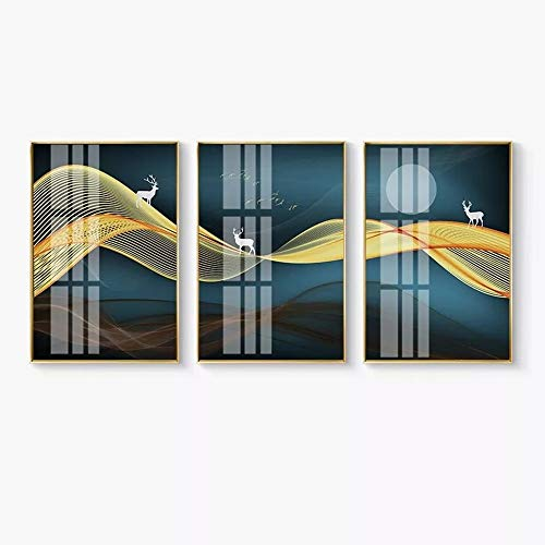 WANGXINQUAN Mural Telón de fondo triple luz de lujo cristal cerámica aluminio Trim nórdico oro fortuna ciervo alce invitación L 40 x 60 cm