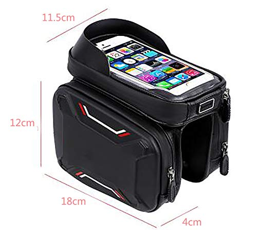 LJWLZFVT Bike Frame Bag Gifts for Him Bicycle bag Waterproof Phone Holder Bike Bags for Frame Top Tube Bicycle Pouch Bag with Touchscreen rain cover Bicycle Frame Bag-Blue oxford cloth 18x10x15cm
