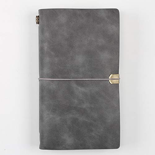L.J. JZDY Tagebuch mit schwebender Reihe, nachfüllbar, Leder, für Herren und Damen, mit zusätzlichem Notizbuch für Reisende, Business, Skizzieren und Schreiben, grau, One Size
