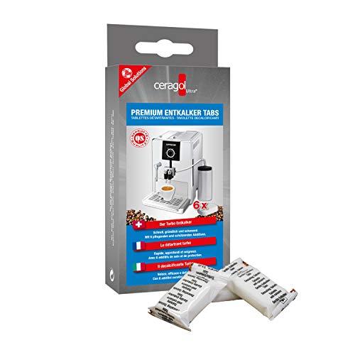 ceragol ultra Premium Entkalker-Tabs – Entkalkungs-Tabletten für alle Kaffee-Vollautomaten und Espresso-Maschinen, zum schnellen Entkalken, 6 Stück für 6 Anwendungen