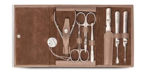 nippes Solingen Premium Line Set per manicure Dove in acciaio inox antiruggine e privo di nichel, custodia in pelle bovina in set per la cura delle unghie, prodotto in Germania, tortora, 7 pezzi