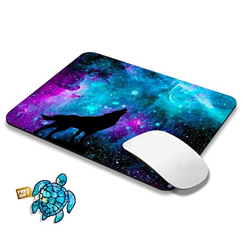 Gaming Mouse Pad Mat Blue Galaxy Wolf Mousepads with Cute Stickers Non-Slip Rubber Base Square Mouse Pads for Laptop Compute Working Home Office Accessories