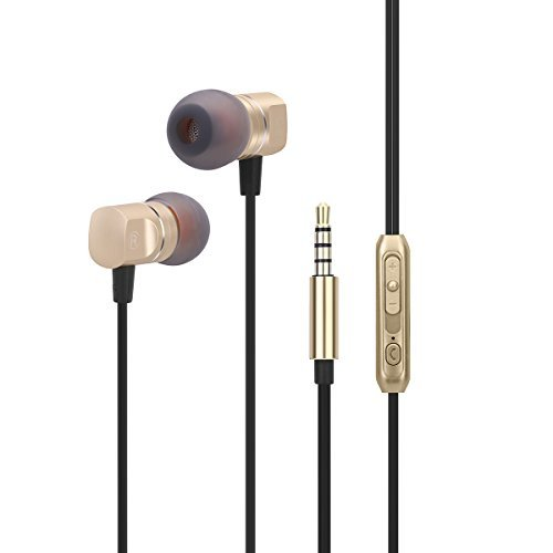 Earphones In ear Headphones Earbuds Noise Isolating with Microphone and Volume Control Powerful Bass for iPhone iPod iPad Samsung HTC Tablets Laptop Mp3 Mp4 Players 3.5mm Black (Gold)