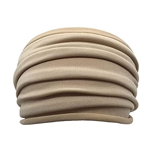 PPLAX Yoga Stirnband Multi-Farbdehnung Yoga Haarband Weibliche Falten Weit Sport Hairband rutschfeste Elastische Stirnband Turban Headscarf Laufendes Zubehör (Color : Beige)