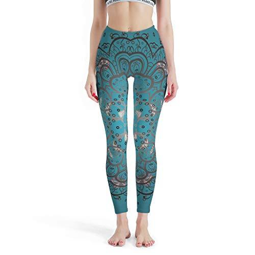 Dogedou Sport yoga leggings meisjes blauwgroene mandala trainingsbroek voor yoga drakblack l