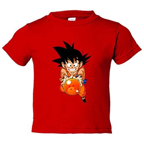 Camiseta niño ilustración Goku bola abuelo de cuatro estrellas - Rojo, 5-6 años