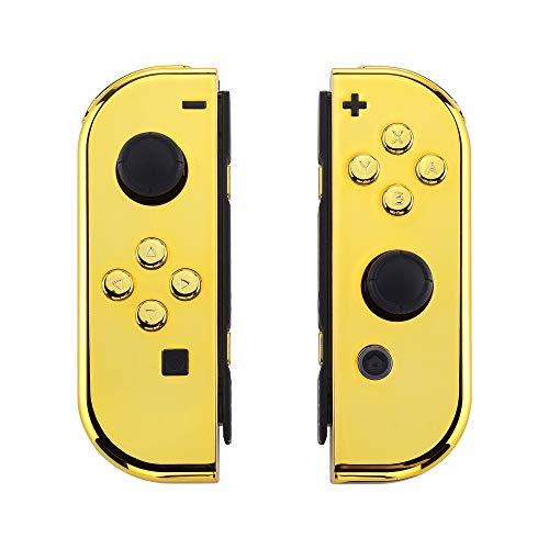 eXtremeRate Cover Impugnatura Custodia JoyCon Controller Case DIY Ricambio per Nintendo Switch Joy-Con(Oro Cromo) con Kit di Pulsanti-NON Include JoyCon