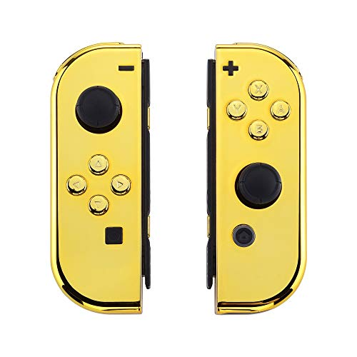 eXtremeRate Chrome Gold Joycon Handheld Controller Housing with Full Set Buttons, DIY Replacement Shell Case for Nintendo Switch Joy-Con – Console Shell NOT Included