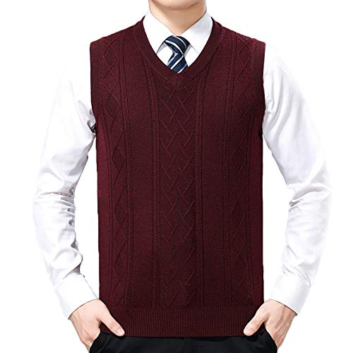 Flygo Men's Lightweight Wool Slim Fit Pullover Cable Knit Sweater Vest (Medium, Wine Red)