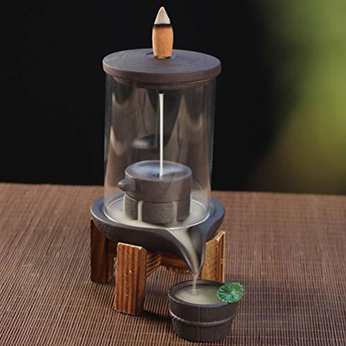 Mayco Bell - Quemador de incienso con tapa protectora de acrílico para cascada de humo de cerámica