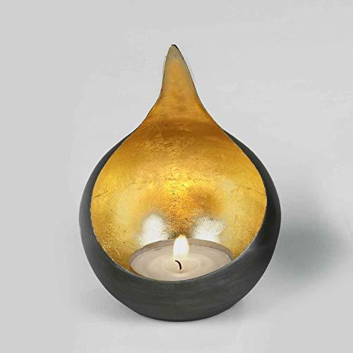 Lambert Caldera Windlicht Eisen schwarz,Gold,H15cm/D11,5cm Metallaccesoires, One Size