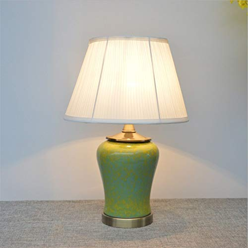 XIAOTIAN Keramik Tischlampe, Wohnzimmer Tuch-Abdeckung dekorative Lampe, amerikanische Art Kreative einfache Tischlampe (Color : 1)