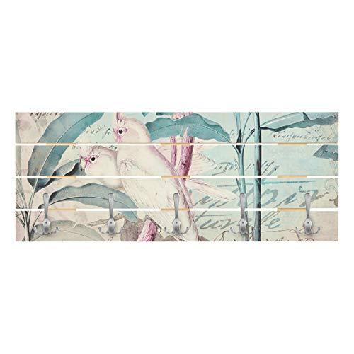 Bilderwelten Perchero de Madera Colonial Style Collage Cockatoos and Palm Trees Ganchos cromados 40x100cm
