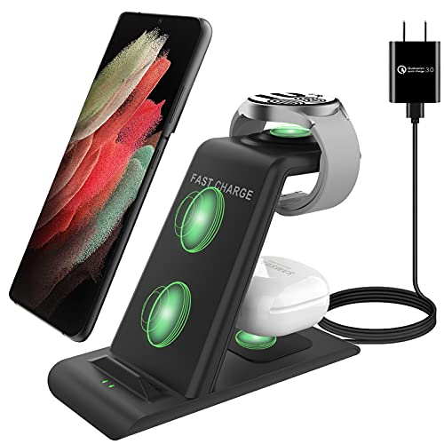 Upgraded Wireless Charging Station for Samsung Wireless Charger Stand Magnet Galaxy Watch 4/3 Active 2/1 Galaxy S21/S20/S10/S10e/Note 20/10/9/8/Z Flip/3 Fold 3 Galaxy Bud 2/Buds/Live Multiple Device