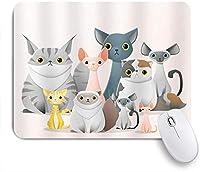 ZOMOY マウスパッド 個性的 おしゃれ 柔軟 かわいい ゴム製裏面 ゲーミングマウスパッド PC ノートパソコン オフィス用 デスクマット 滑り止め 耐久性が良い おもしろいパターン (面白い猫家族ピンクの背景カラフルな動物の子猫赤ちゃん保育園子供漫画)