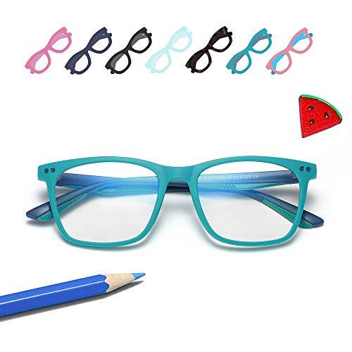 Penbea Kids Blue Light Blocking Glasses - Blue Light Glasses for Kids Girls Boys Age 7-12, Fake Glasses Anti Bluelight Glasses for Kids - Light Blue