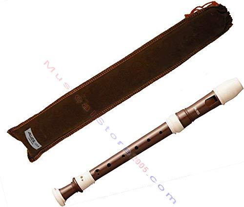 Aulos 700078 Flauto Soprano in Do Bel Canto 105A Diteggiatura Barocca, Completo con Astuccio, Spazzolino, Scatola di Grasso e Tavola Diteggiatura, Marrone Medio
