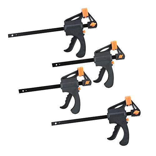 Nuzamas Plastic 4'& 6' F Set di morsetti, presa rapida e sbloccaggio a cricchetto, barra di serraggio regolabile, kit di utensili fai-da-te per la lavorazione del legno