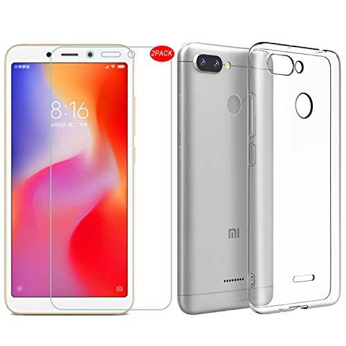 Kit 1 Capa e 2 Películas Para Xiaomi Redmi 6 de Tela 5.45 Capinha Transparente Clear Ultra Fina e Película De Vidro Temperado - Danet - Pronta Entrega