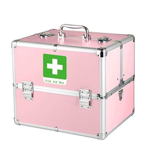 LF- Medizinkasten Hausgröße Aluminiumlegierung Medizinkasten mehrschichtige medizinische ambulante Erste-Hilfe-Medizin Aufbewahrungsbox speichern (Color : Pink, Size : S)