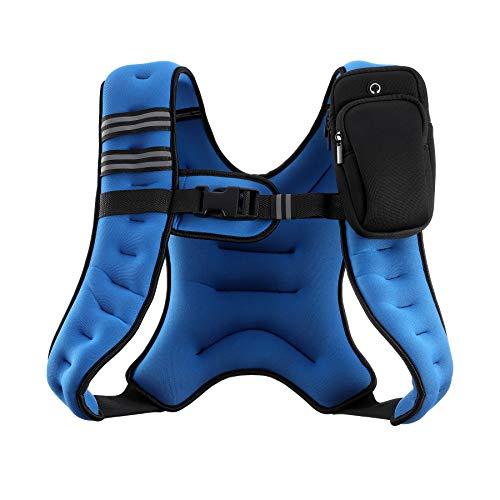 ZELUS Gewichtsweste 5,4 kg Gewichtsweste mit Reflektorstreifen für Workout, Krafttraining, Laufen, Fitness, Muskelaufbau, Gewichtsverlust, Gewichtheben (Blau)