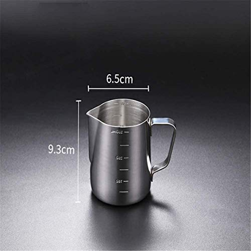 LY88 Tip-Nosed Melkkruik roestvrij staal antiaanbaktype met weegschaal Espresso koffie huis/commercieel, 350ml